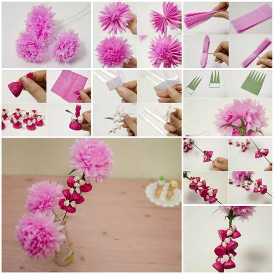как сделать большие бумажные цветы