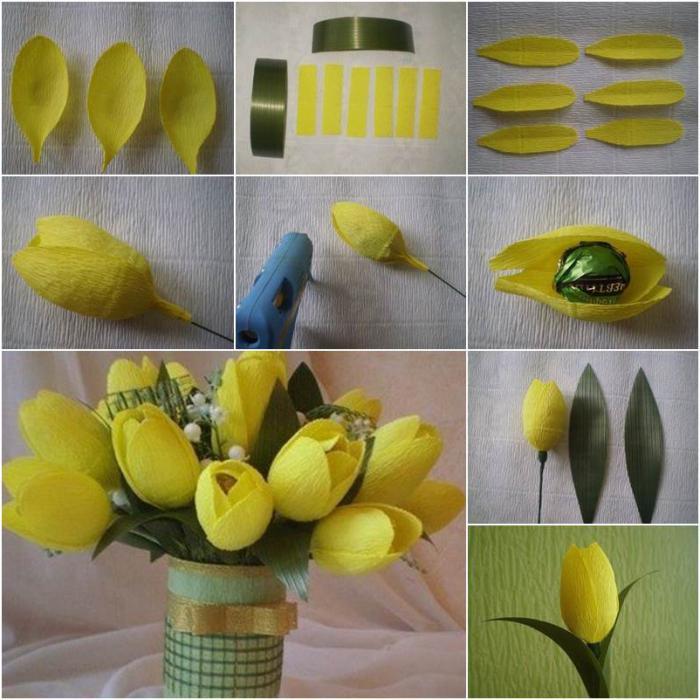 Тюльпан с конфетами из гофрированной бумаги своими руками пошагово