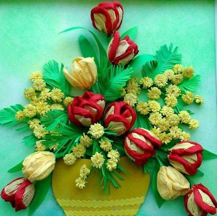 тюльпан из гофрированной бумаги своими рукам