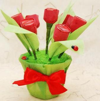 тюльпаны из гофрированной бумаги мастер класс