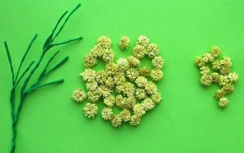 мимозы из гофрированной бумаги