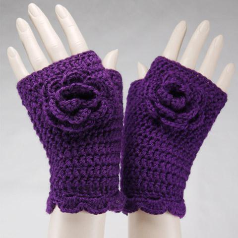вязанные перчатки крючком схема