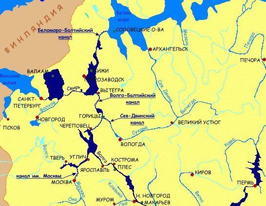 волго балтийский канал карта