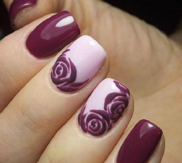 гель лак дизайн розы по мокрому