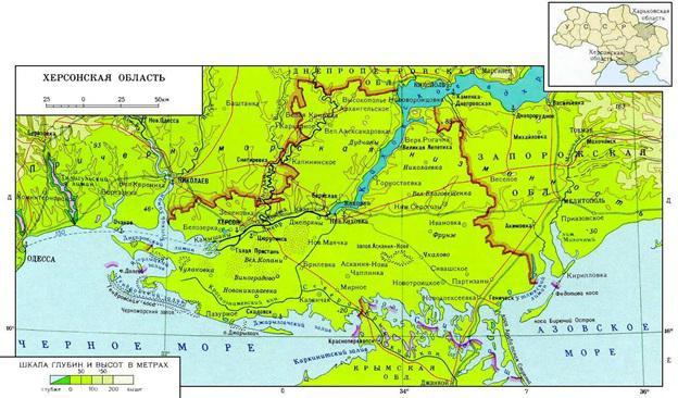Херсонская область карта области