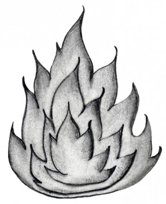 как рисовать огонь карандашом