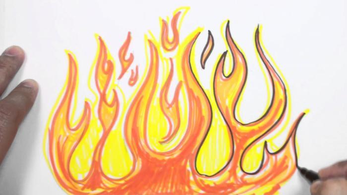 как рисовать огонь карандашом поэтапно