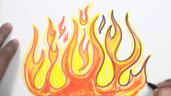 Пламя рисунки карандашом