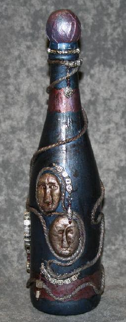 Бутылки в технике пейп арт