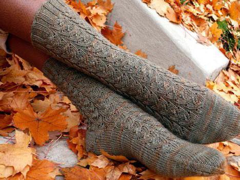 ажурные носки спицами схемы