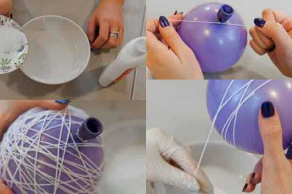 как сделать шарик из ниток и клея карандаша