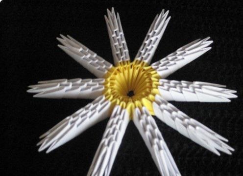 оригами ромашка из бумаги