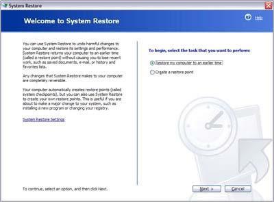 как откатить систему windows 7