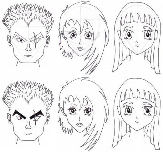 Contoh Komik Manga: Как нарисовать лица аниме? Аниме карандашом: лица