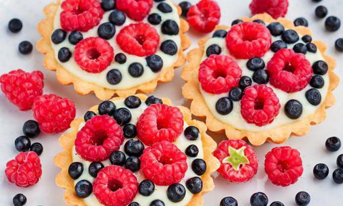Пирожное корзиночка с кремом и фруктовой начинкой