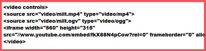 вставка видео с помощью html 5