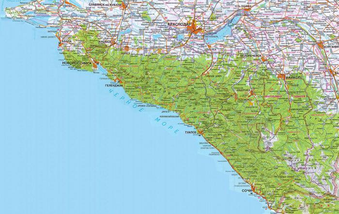 Песчаные пляжи Краснодарского края карта