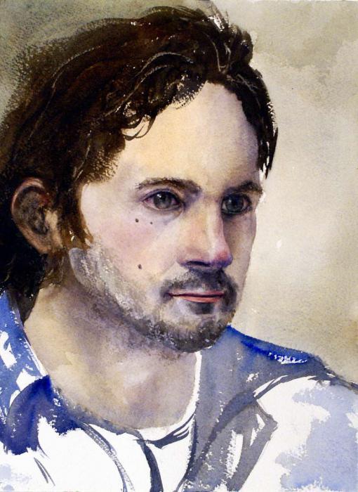 портрет акварелью пошагово