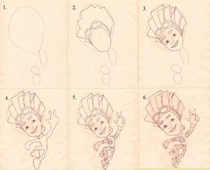 как нарисовать фиксиков фаера