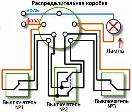 схема подключения проходного выключателя с 3х мест на две лампы