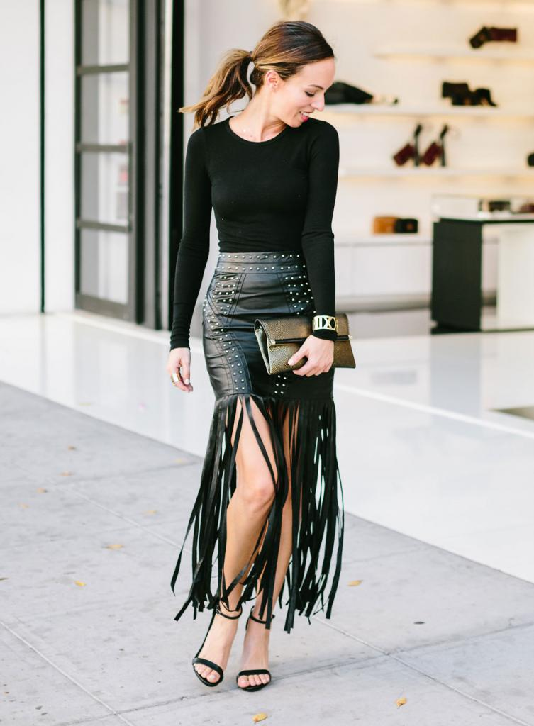 what to wear with a leather skirt