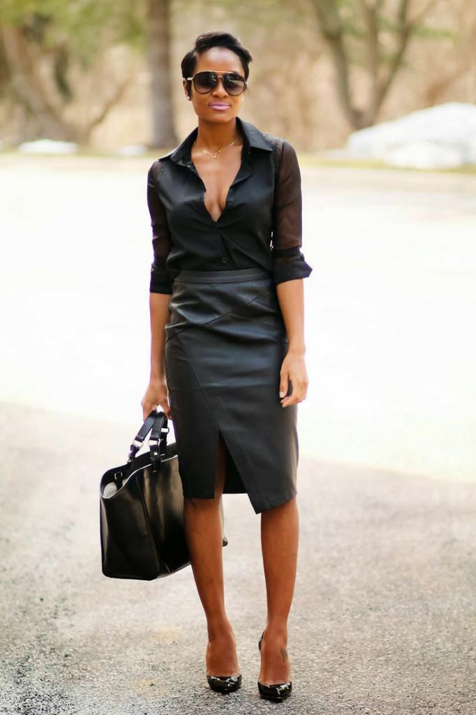 stylish leather skirt