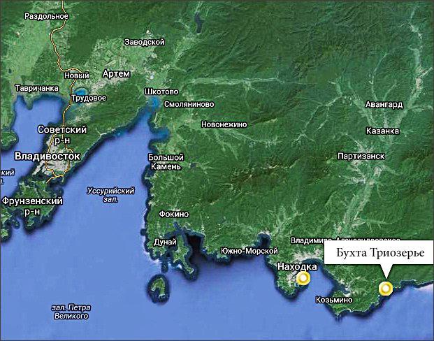 Триозерье, Приморский край на карте