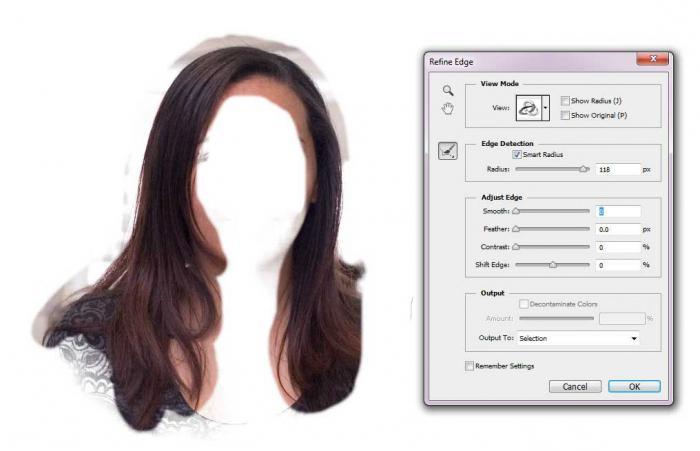 как в фотошопе вырезать волосы