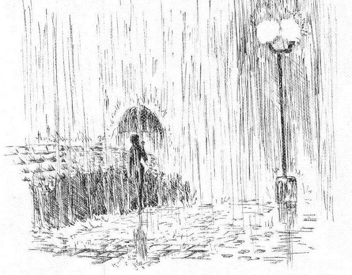 How to draw rain with a pencil and colors?