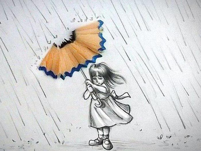 как нарисовать дождь