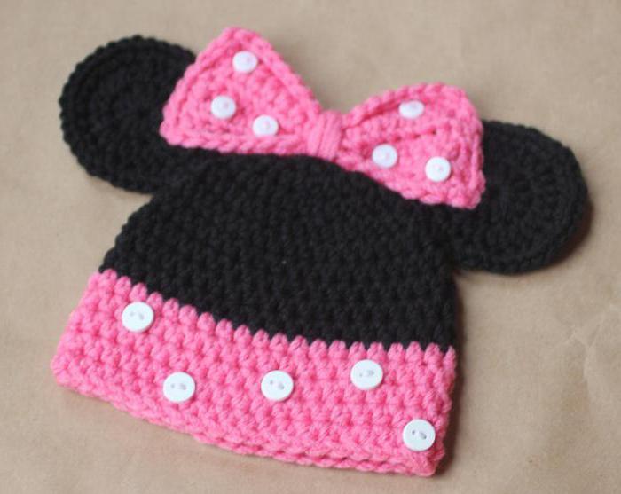 шапка детская крючком минни маус