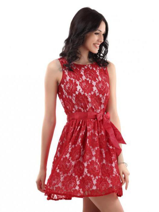 гипюровое красное платье