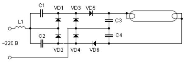 схема включения сгоревших люминесцентных ламп