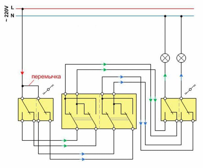 двухклавишный перекрестный выключатель