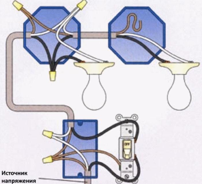 схема подключения одноклавишного выключателя на две лампочки