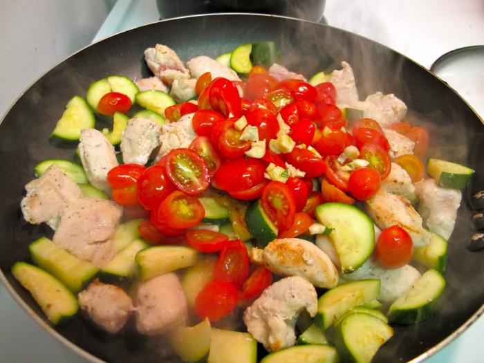 куриное филе с кабачками и помидорами