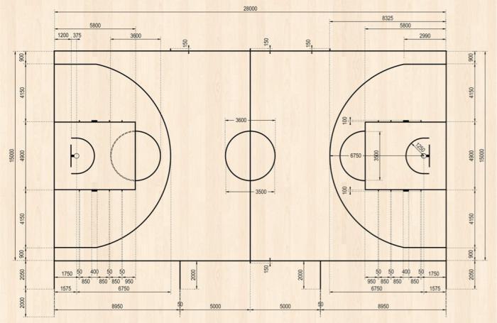 разметка баскетбольной площадки с размерами