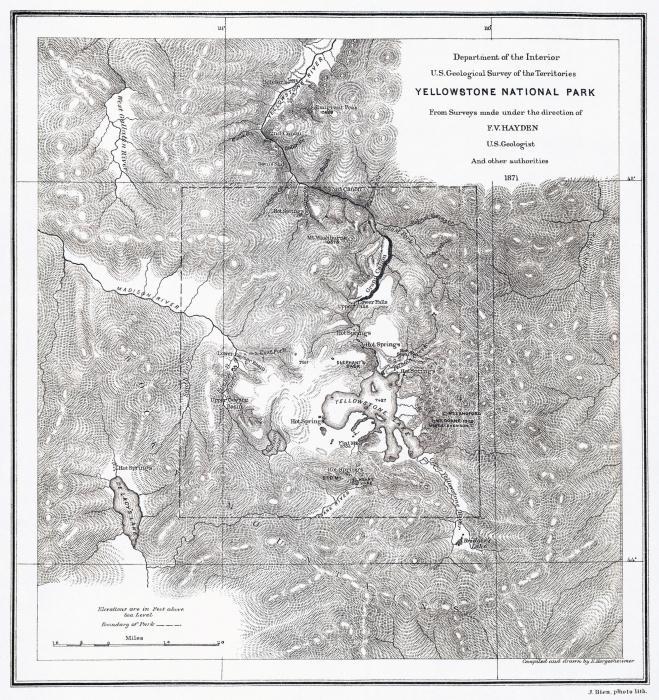 йеллоустонский парк на карте