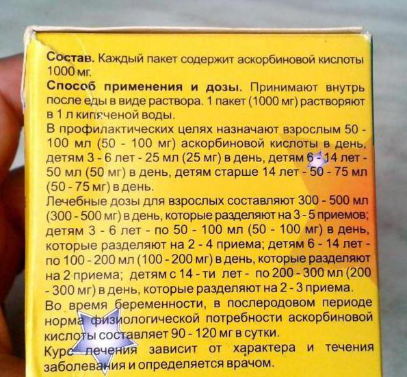 Аскорбиновая кислота инструкция по применению для детей