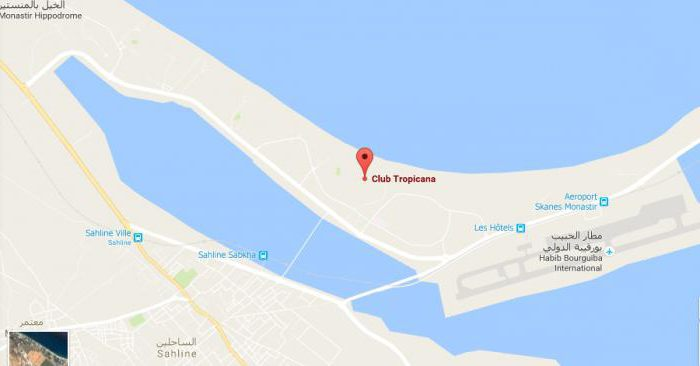 карта отелей монастир тунис