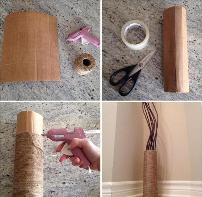 напольные вазы из картона своими руками