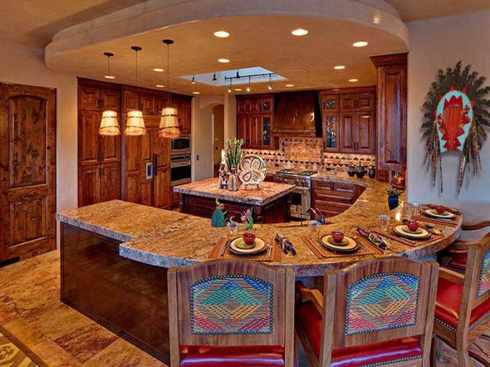 Интерьер кухни гостиной в доме