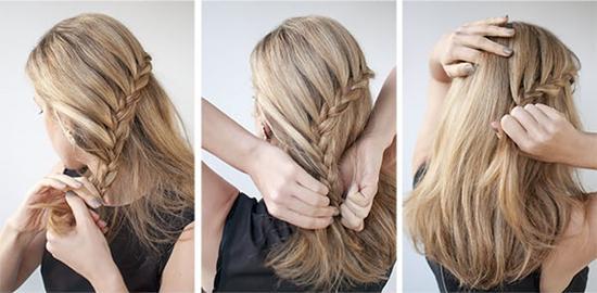 5. Направьте косу вниз, делая это за счет боковых прядей.  Вы увидите, как стильная прическа, своими руками пошагово...