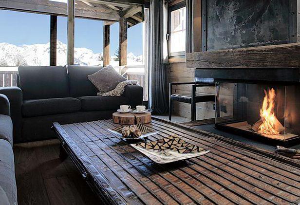 дизайн интерьера загородного дома в стиле шале