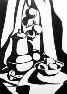 How to draw a decorative black and white still life in different ways