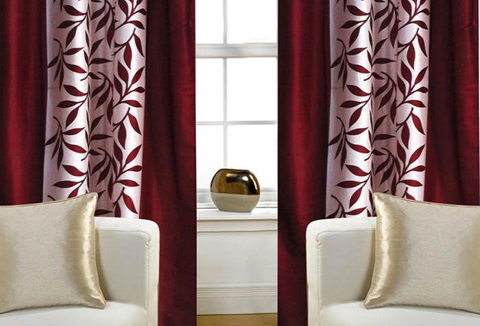 Бордовые шторы в интерьере гостиной — интересные идеи, особенности и отзывы
