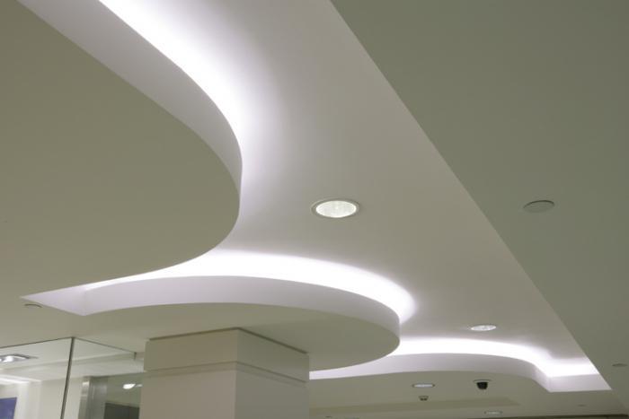 дизайн потолков из гипсокартона в зале