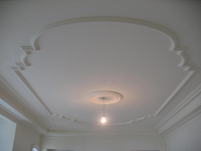 потолки в зале с гипсокартона фото