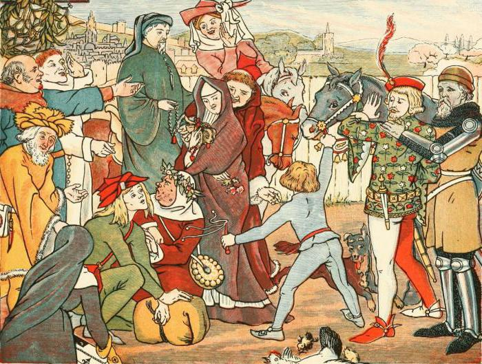 clerk squire contrast canterbury tales The canterbury tales by a squire learned his future duties as a knight by attending on one the knight's 20-year-old son is a striking contrast to his father.