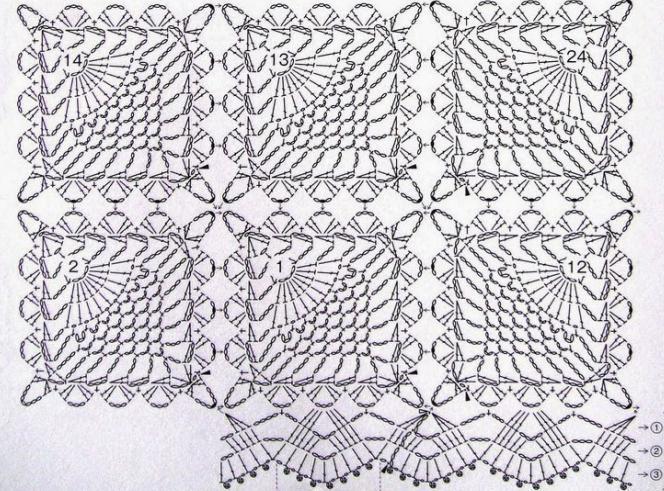 схема прямоугольной салфетки крючком